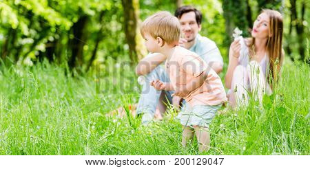 Little boy running over meadow with family in background
