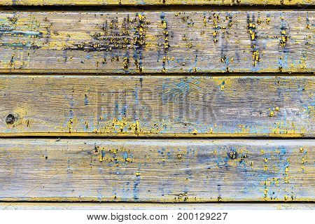 old wooden boards with traces of paint closeup as background