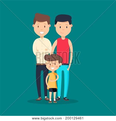 Lovely flat design vector illustration on gay family. Two adult men and small baby standing together. Husband and husband holding toddler. Gay parents with child. Homosexual couple with baby