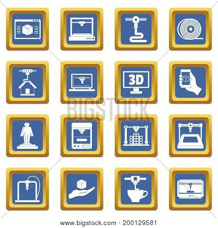 3D Printing icons set in blue color isolated vector illustration for web and any design