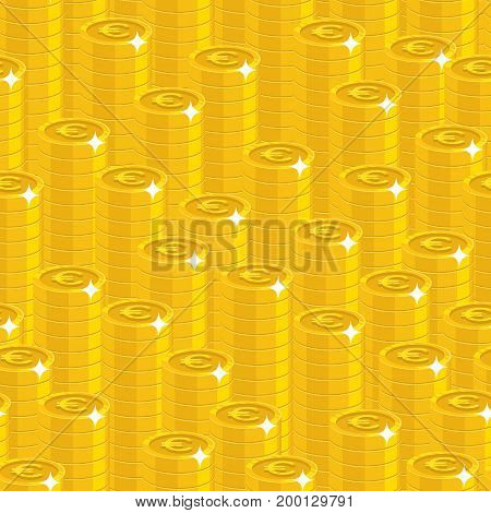 Piles gold euro style seamless pattern. Background of piles gold euro as a pattern for designers and illustrators. Cover of gold pieces in the form of vector illustration