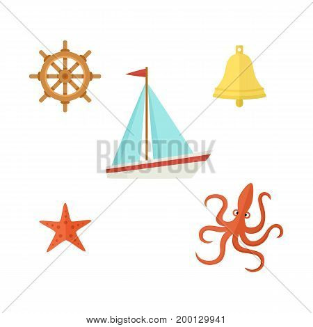 Nautical, sea set - sailboat, steering wheel, ship bell, starfish, octopus, flat cartoon vector illustration isolated on white background. Nautical elements - sailboat wheel bell starfish and octopus
