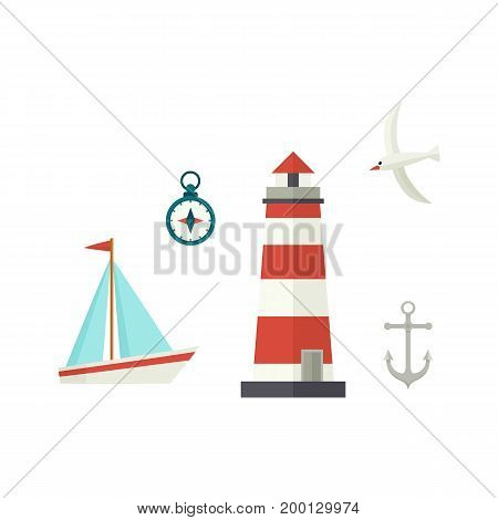 Nautical, marine set - ship, lighthouse, compass, anchor and seagull, flat cartoon vector illustration isolated on white background. Nautical elements - sailboat, lighthouse, compass, anchor, seagull