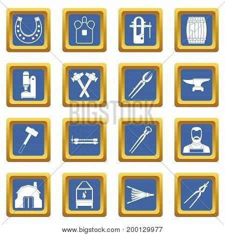 Blacksmith icons set in blue color isolated vector illustration for web and any design