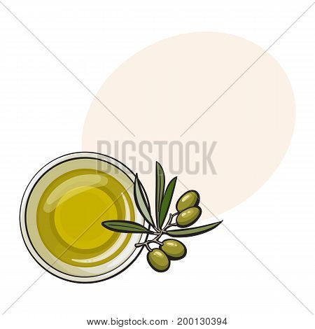 Bowl of natural oil massage decorated with fresh mint leaves, top view sketch vector illustration with space for text. Top view hand drawing of organic oil massage with mint leaves, spa accessory