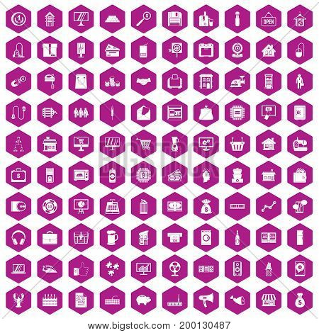 100 sales icons set in violet hexagon isolated vector illustration