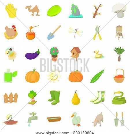 Farming icons set. Cartoon style of 36 farming vector icons for web isolated on white background