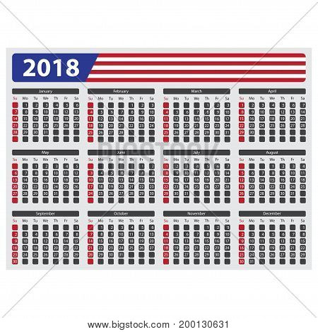 USA calendar 2018 without official holidays and non-working days - week starts on sunday