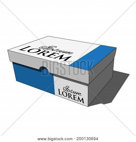 three dimensional illustration - closed blue white isolated shoes box with black text and shadow in front of a white background