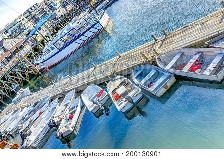 Bar Harbor USA - June 8 2017: View of dock and many empty boats in downtown village in summer