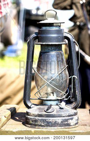 Old kerosene lamp. Antique Vintage Oil lantern