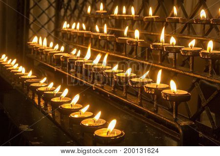 Burning church candles set out in rows