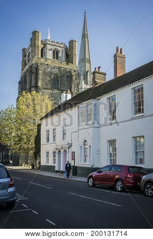 CHICHESTER, WEST SUSSEX, UK, 16 NOVEMBER 2013 - View of cathedral from West Street Chichester