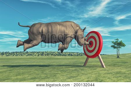Rhino that aims to target. This is a 3d render illustration