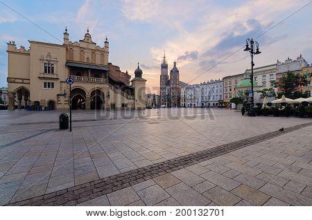 Krakow Rynek Glowny - The main square. Poland. Europe in the early morning