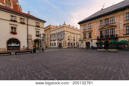 A Small Market square Maly Rynek in the morning. Krakow. Poland.