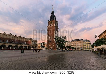 Town hall tower in the main square of Krakow. Poland in the morning