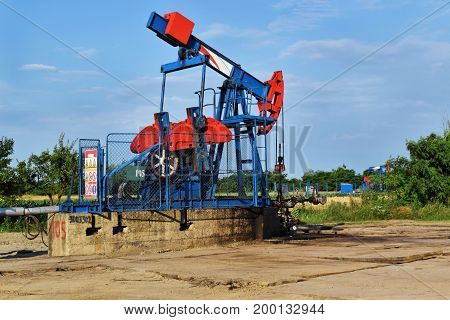 Pumping of crude oil in an European oil field