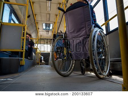 Voronezh, Russia - June 07, 2017: Train of people with disabilities in the bus