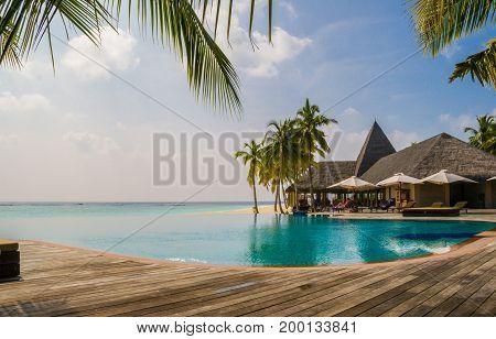 Maldives tropical resort. Suitable for an idea of vacations, Caribbean or tropical summer time.
