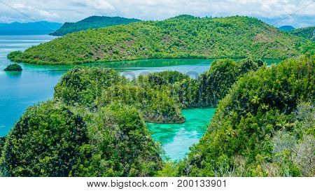 Rock Islands in Peanemo, Raja Ampat, West Papua. Indonesia