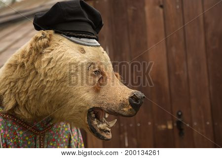 Dead bear no eyes traditional Russian clothes  ferosous face Concept Russian