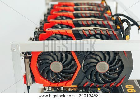 Videocards for the crypto currency. White background. Close-up