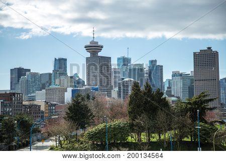 Highrise buildings moden city wide shot business Vancoouver Canada