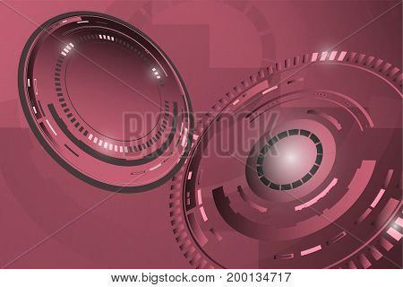 Background. Technical background in red colors with circles.