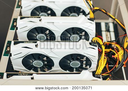 White video cards in the box for mining. Close-up