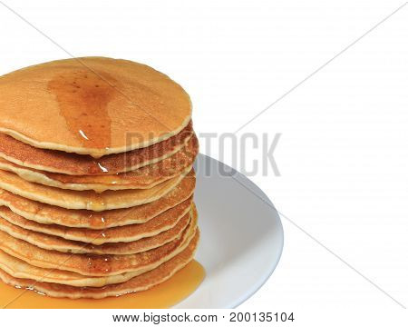 Closed up stack of fresh made pancakes with maple syrup served on white plate, white background with free space for text and design