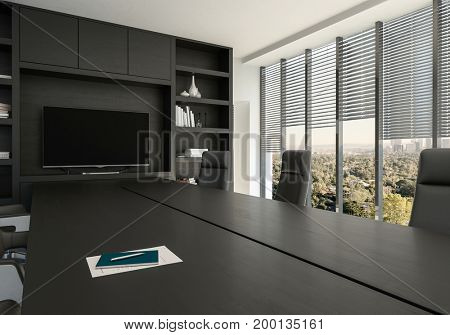 Business conference room with large windows overlooking a leafy city in a close up view on a black table and chairs. 3d Rendering.