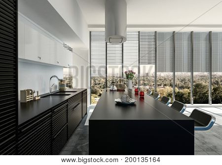 Stylish open-plan black and white fitted kitchen with appliances and bar counter with stools looking towards large windows overlooking a leafy green city. 3d Rendering.