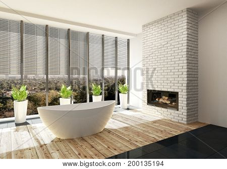 Luxury bathroom with fire insert in a feature white brick wall and sunshine pouring in through large view windows onto an oval tub. 3d Rendering.