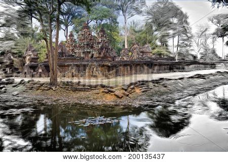 The photo turns into a picture- Banteay Srey Temple ruins (Xth Century) Siem Reap Cambodia