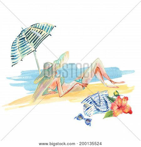Watercolor hand painted greeting card with girl on the beach,  abstract texture with umbrella, bag isolated on white background. Fashion design elements