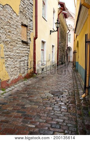 Old houses on the Old city streets. Tallinn. Estonia