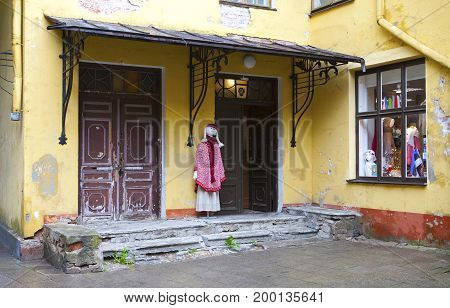 TALLINN ESTONIA- JUNE 17 2012: the souvenir shop on the street of the old city in Tallinn Estonia