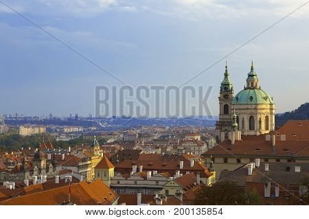 view from the observation deck on the old city Prague Czech Republic