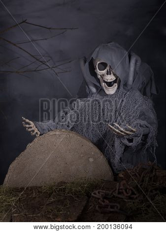 Scary halloween skeleton on a foggy black background