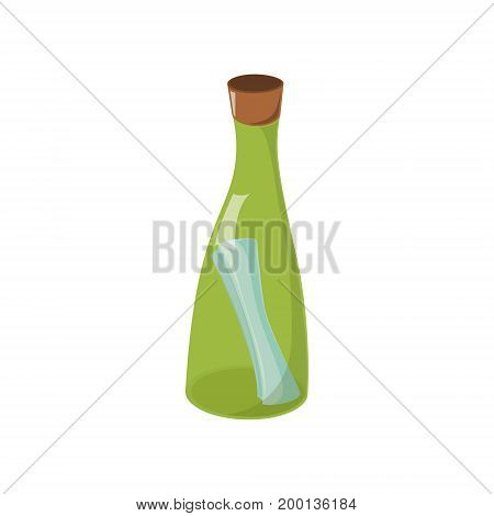 Message, letter, note in transparent green glass bottle, cartoon vector illustration isolated on white background. Cartoon, comic style vector illustration of message in glass bottle