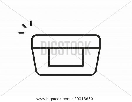 Cosmetic cream line icon on white background. Vector illustration.