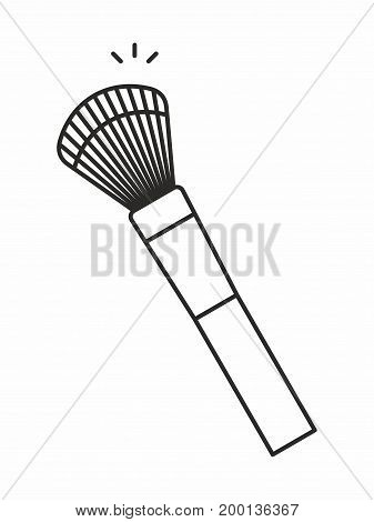 Makeup Brush line icon on white background. Vector illustration.