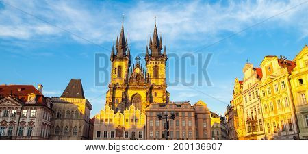 Church of Our Lady before Tyn. View from Old Town Square, Prague, Czech Republic. Panoramic shot.