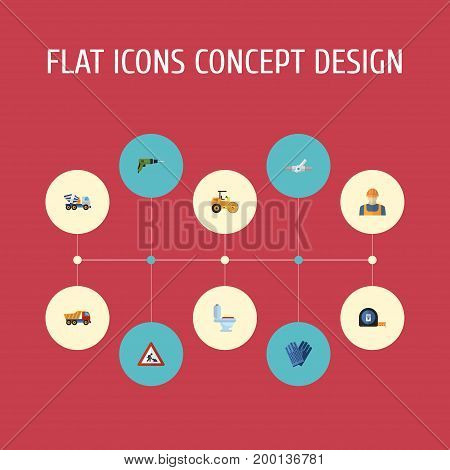 Flat Icons Van, Electric Screwdriver, Steamroller And Other Vector Elements