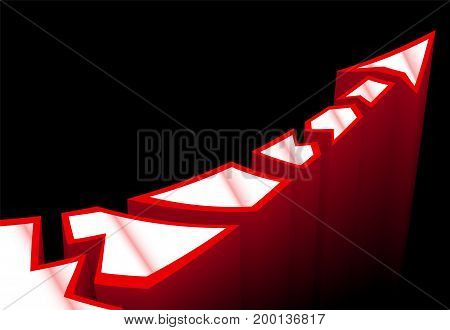Red columns with white spots, appear from a black mist, make up a directing arrow