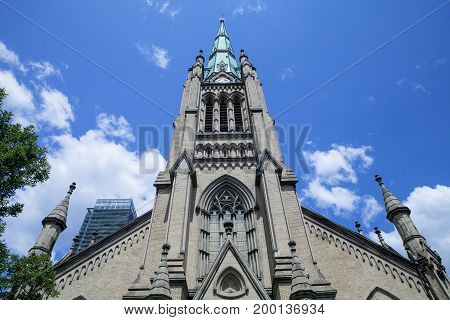 Looking up at St. James Cathedral in Toronto Canada