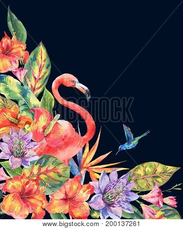 Watercolor pink flamingo and tropical flowers greeting card. Hand painted floral illustration with exotic flowers and birds isolated on black background. Fashion design elements