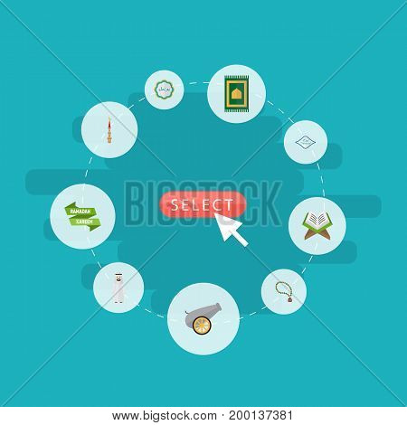 Flat Icons Prayer Carpet, Arabic Calligraphy, Artillery And Other Vector Elements