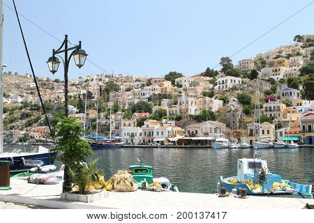 Types of capital of the island of Symi Greece